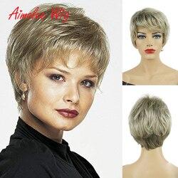Corta mezcla marrón Rubio Peluca de cabello humano mezcla pelucas sintéticas negro/blanco mujer Natural pelucas para mujeres jóvenes damas