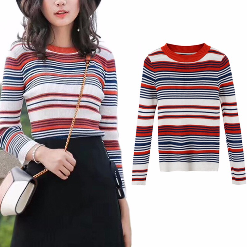 BEFORW Casual Autumn Winter Sweater Women Long Sleeve Pullover Basic Sweaters Striped Korean
