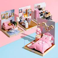 Cute room Doll House Furniture Diy Miniature 3D Wooden Miniaturas Bedroom kitchen Dollhouse Big size Toys for Children