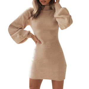 Women Sweater Dress Spring Autumn Warm Fashion Clothes Solid Color Long Lantern Sleeve Round Neck Soft Mini Short Dress S-XL