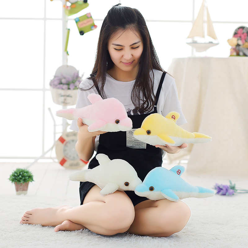 Image 3 - 32cm Creative Luminous Plush Dolphin Doll Glowing Pillow, Colorful LED Light  Animal Toys Kids Children's Gift YYT220-in Stuffed & Plush Animals from Toys & Hobbies