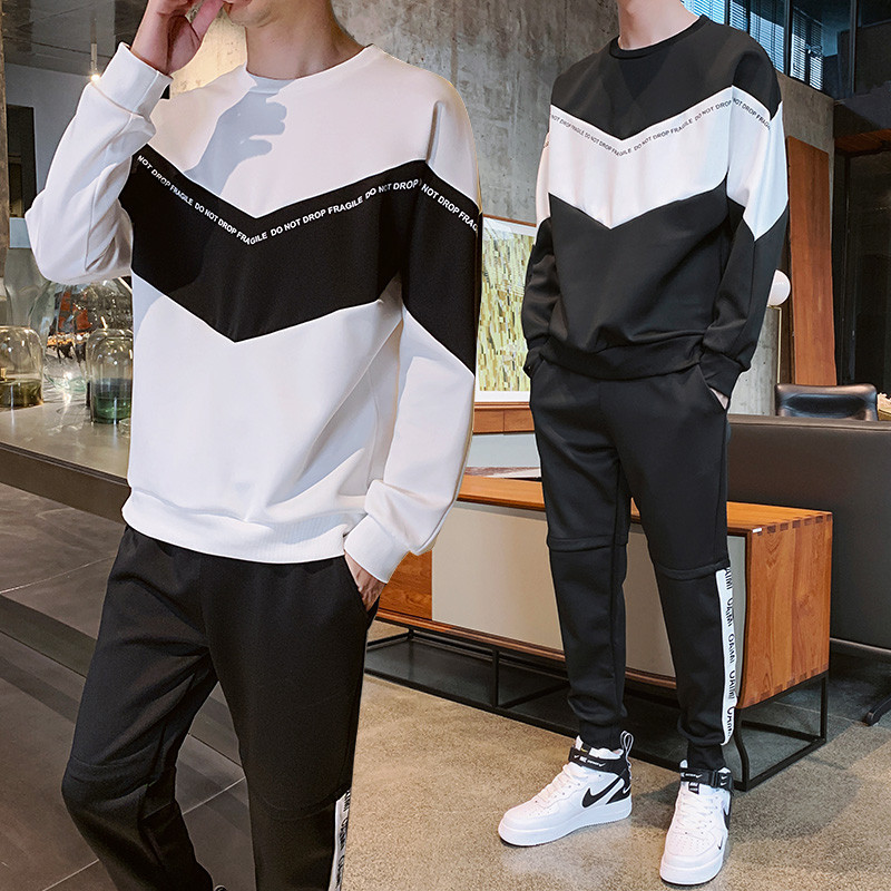 Autumn Korean-style Slim Fit A Set Of Boy Sports Leisure Suit Teenager Junior High School Students Hoodie Men's Sport Suit
