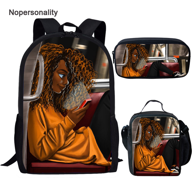 Afro Girl on the bus 3pcs Book Bag