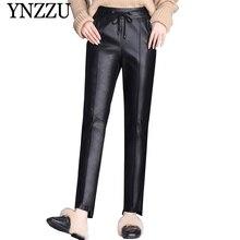 YNZZU 2019 Autumn Faux Leather pants Plus size Black Loose Long PU Harem pants Female Patchwork PU Trousers Streetwear YB371 plus size drawstring pu leather tapered pants