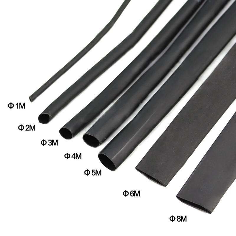 8 Meter 1set 21 Black Heat Shrink Tube 1 2 3 4 5 6 8 10mm Heat Shrink Tubing DIY PVC Tube 10mm Termoretractil Sleeving Connector 6