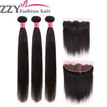 ZZY Fashion Hair Lace Frontal Closure with Bundles Straight Human Hair Bundles with Lace Closure Non-Remy Hair(China)