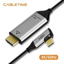 CABLETIME USB C HDMI Cable Angle 4K 60Hz Type C 3.1 HDMI Thunderbolt 3 for MacBook Pro 2018 Samsung Galaxy S8+ Laptop N223