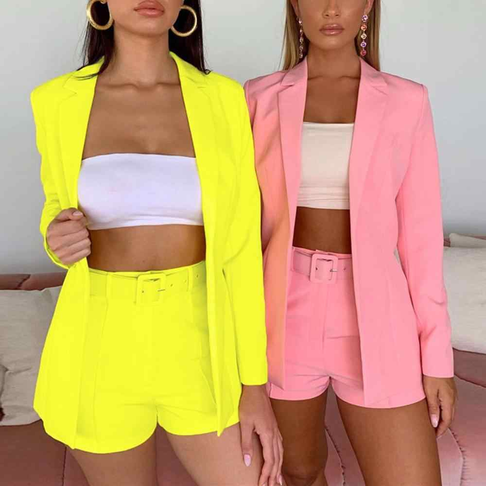 Neon Work Ol Suit Female Blazer And Pants Suit Set Female Coat V Neck Sexy Chic Suit Women Office Set 2 Pieces Outfits Female
