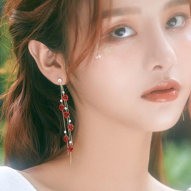 Fashion Rose Petal Drop Earrings for Women Bijoux Blue White long tassel Dangle Earrings Weddings Party Jewelry Accessories Gift 6