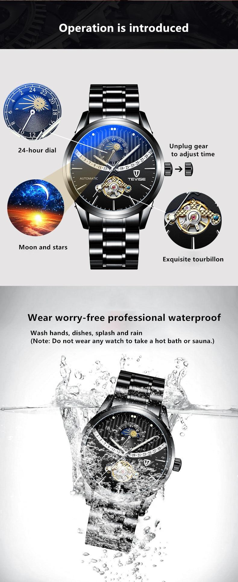 água noctilucent tourbillon masculino relógios 8378f