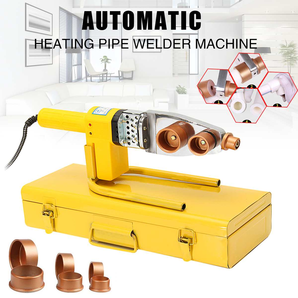 8pcs 220V Automatic Electric Welding Tool Heating PPR PE PP Tube Welded Pipe Welding Machine+ 20mm 25mm 32mm Heads