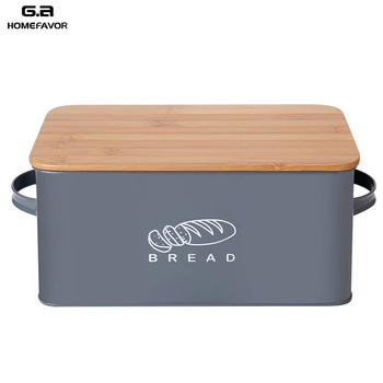 Storage Box With Bamboo Cutting Board Lid Bread Metal Galvanized Organization Snack Bin Kitchen Food Containers
