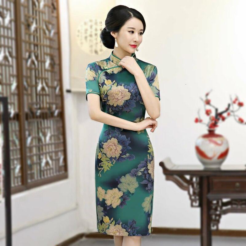 Sheng Coco Women Long Silk Chinese Dress Green Flower Print Qi Cheongsam Female Elegant Clothes Oriental Style Dresses 3XL 4XL