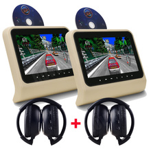 2 Pcs X 9 Inch HD Auto Car Headrest DVD Player Head Rest TFT LCD Screen RCA Monitor Audio Video Display Game USB SD MP3 MP4 AUX
