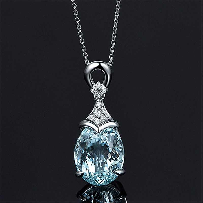 Fashion Sky Blue crystal Stone Carat Pendant Oval Shape Solitaire Silver Color Chain Necklace wedding jewelry gifts For Women