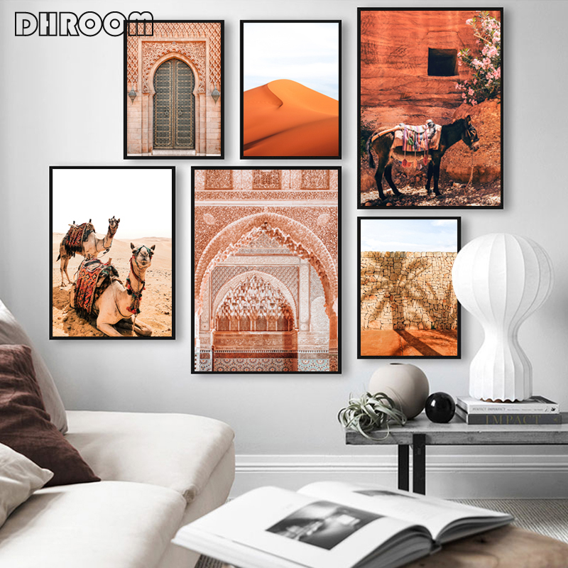 Boho Landscape Wall Art Desert Travel Print Marrakech Poster Camel Canvas Print Painting Wall Picture Living Room Moroccan Decor