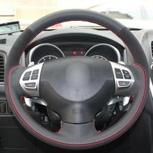 цена на Black Leather Suede Car Steering Wheel Cover for Mitsubishi Lancer Outlander ASX