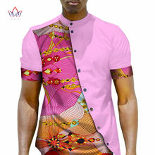 Men African Clothing Dashiki Men Top Shirt Bazin Riche African Men Clothes 100% Cotton Print Patchwork Button Top Shirt WYN22