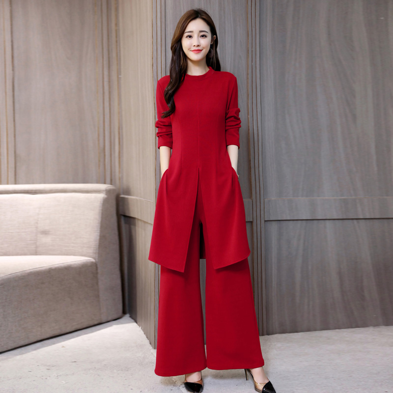 Free ShipìSuit Trousers Dress Hong-Kong Two-Piece Autumn Showing Female Korean-Version Long-Sleeved