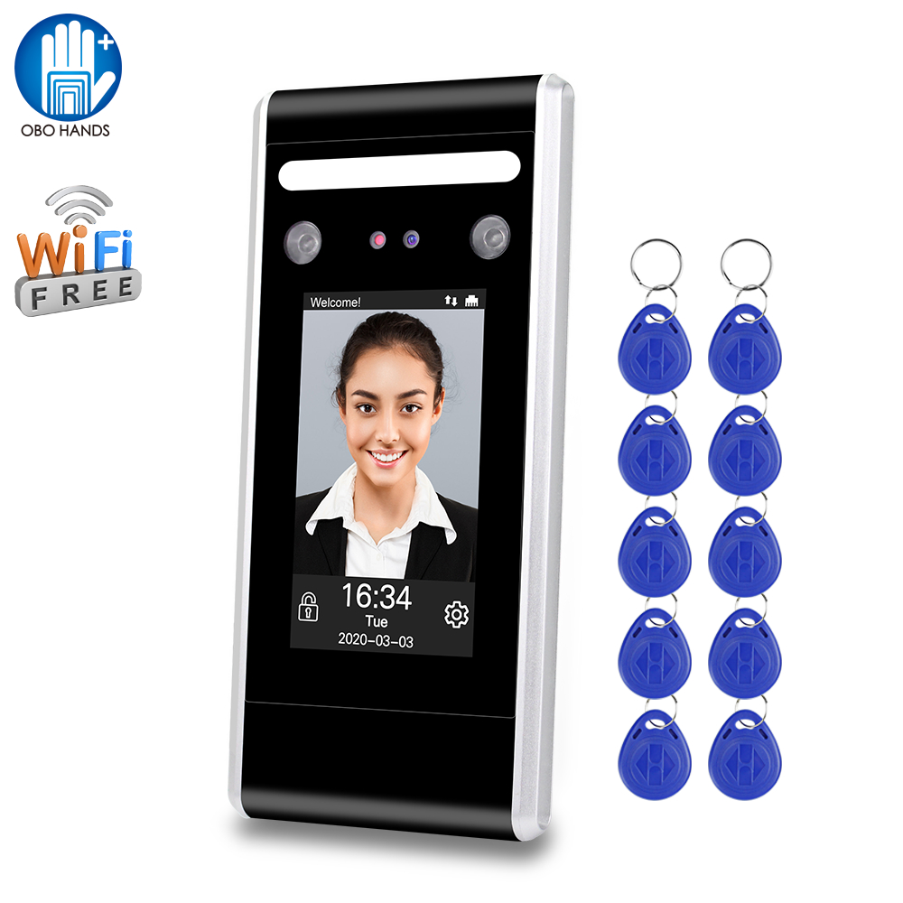 WiFi Dynamic Face Time Attendance Machine Facial Biometric System Software 125KHz/13.56MHz RFID Access Control Keypad TCP/IP/USB