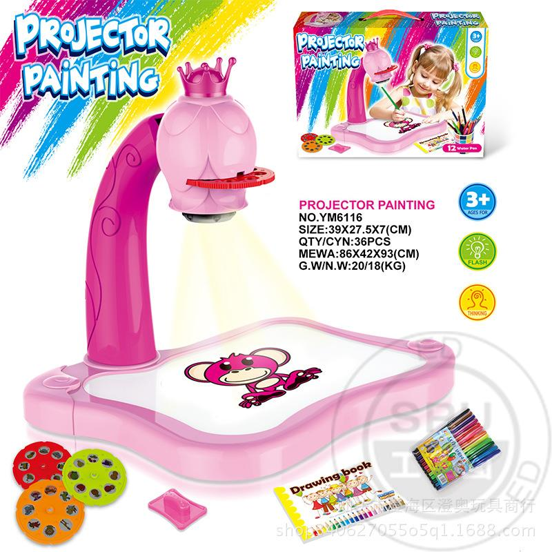 New Kids Toy Painting Drawing Table Led Projector Music Toys Kids Arts Crafts