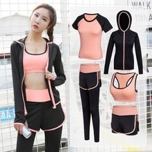 Gym Suit Jogging-Suits Sport-Kit Workout-Wear T-Shirt Fitness Running Women's Patchwork