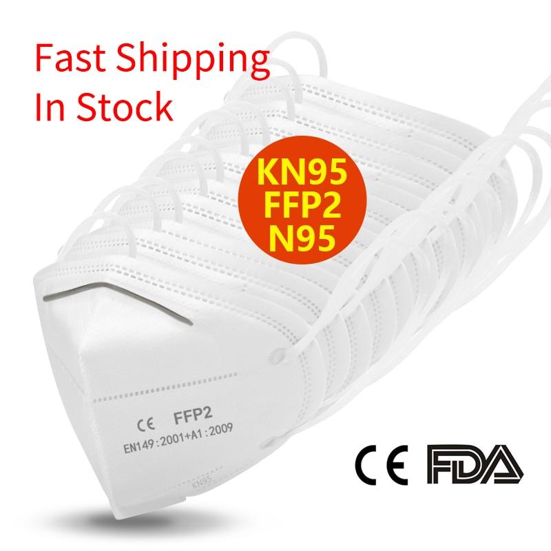 Masks Disposable KN95 Mask FFP2 Protective Mask Safety Masks 99% Filtration For Dust Particulate Pollution N95 Protection