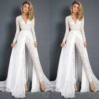 New Lace Chiffon Wedding Dresses Jumpsuits With Overskirt Modest V Neck Long Sleeve Beaded Belt Beach Casual Jumpsuit forBridal