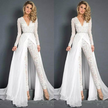 New Lace Chiffon Wedding Dresses Jumpsuits With Overskirt Mo