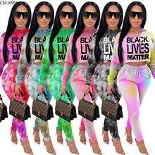 CM.YAYA-Conjunto de dos piezas de Black Lives Matter Tie Dye para mujer, ropa para ejercicio, sudaderas con capucha, jogging, chándal a juego