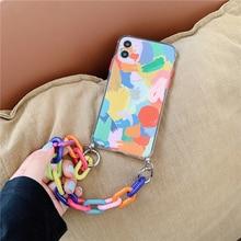 Art Graffiti Bracelet Lanyard Phone Cases For iPhone 12 11 Pro Max X XS XR 7 8 Plus 12 Mini Camera Protection Cute Chain Shell