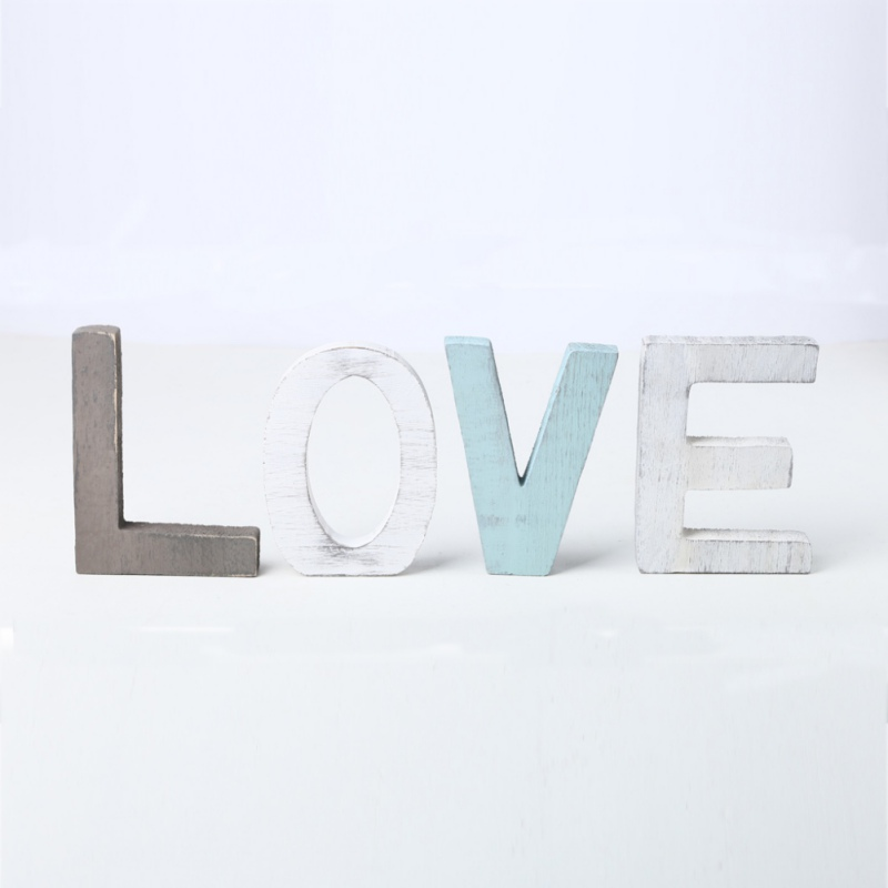 3D LOVE Wooden Letters Sign Decoration Alphabet Word Rustic Wedding Party Home Desktop Decorative Ornament