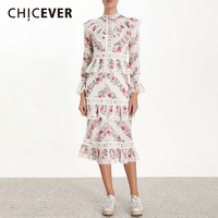 CHICEVER Autumn Hollow Out Print Female Dress Clothes Stand Collar Flare Sleeve High Waist Ruffles A Line Dresses Women Fashion