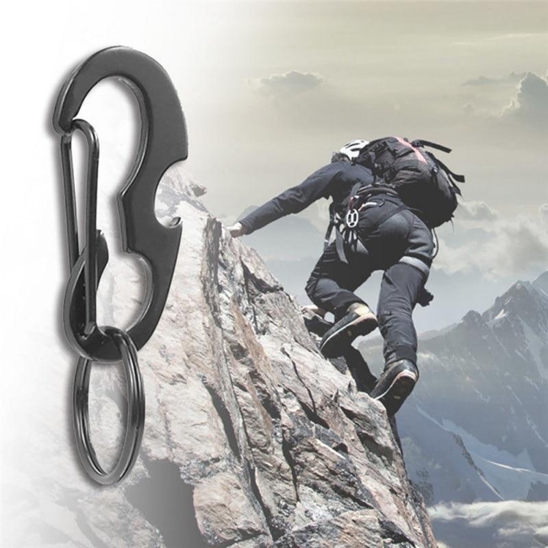 Steel Shaped Carabiner Clip Snap Hook Belt Keyring Keychain Buckle Bottle Opener