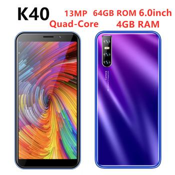 Wersja globalna K40 telefonów komórkowych czterordzeniowy 4G RAM 64GB SmartPhone Unlocked Face ID 13MP tylna kamera HD telefonów komórkowych z systemem Android wifi tanie i dobre opinie BYLYND Odpinany Nowy Rozpoznawania twarzy Do 48 godzin 3200 Adaptacyjne szybkie ładowanie Smartfony Bluetooth 5 0 Pojemnościowy ekran