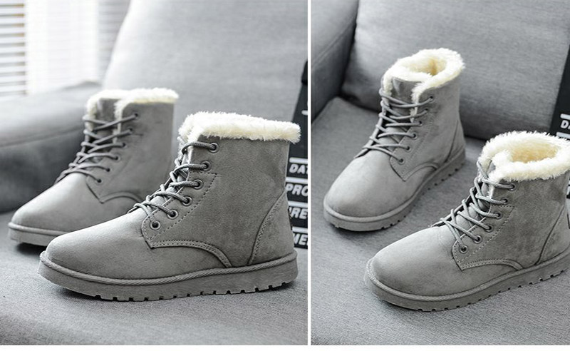 Women Flock Fur Flat Lace Up Winter Snow Suede Ankle Boots Female 53