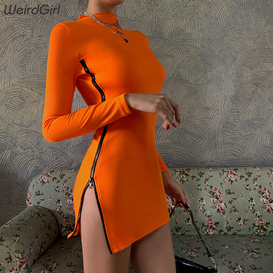 Weirdgirl Women Neon Orange Zipper Dress Sexy Fashion Long Sleeve Bodycon Female Slim Mini Dress Streetwear 2020 New Spring
