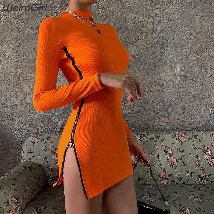 Weirdgirl Women Neon Orange Zipper Dress Sexy Fashion Long Sleeve Bodycon Female Slim Mini Dress Streetwear 2020 New Spring