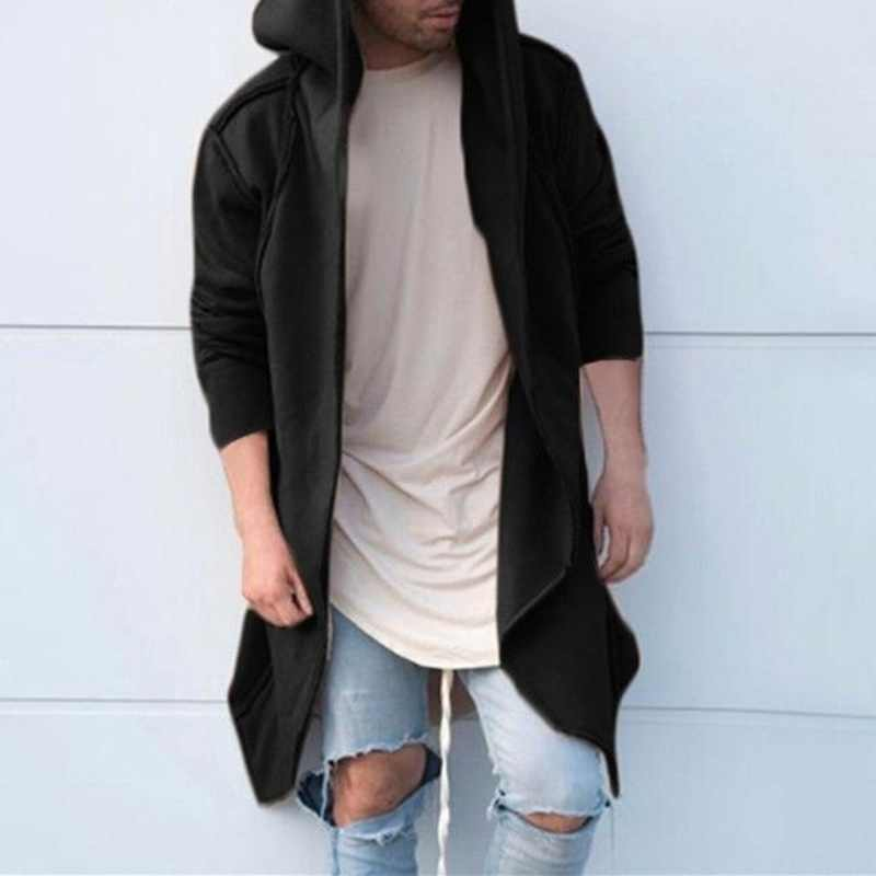 ZOGAA Зимняя шерстяная куртка мужская Высококачественная шерстяная куртка с капюшоном Повседневная тонкая куртка верхняя одежда мужская длинная хлопковая однотонная Тренч пальто