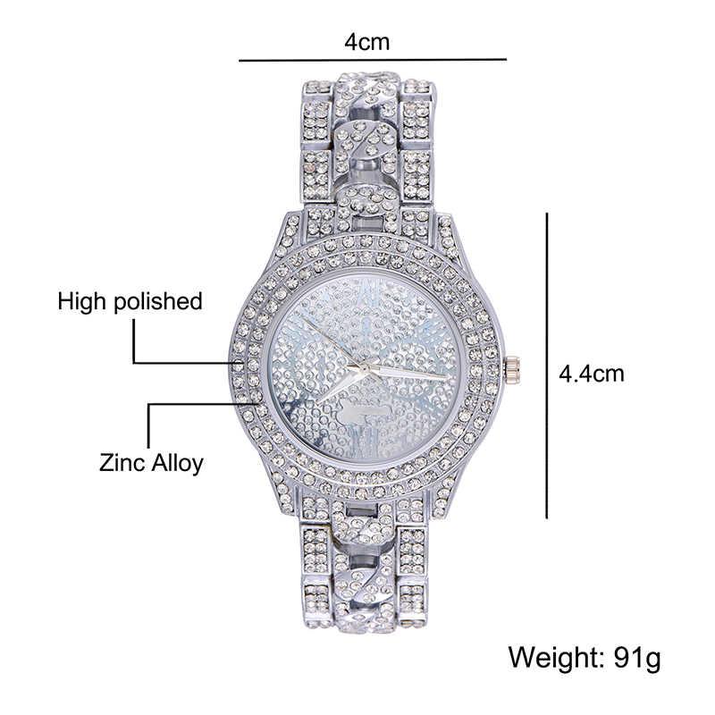 היפ הופ יוקרה Mens אייס מתוך שעונים תאריך קוורץ יד שעונים עם Micropave CZ סגסוגת שעון עבור נשים גברים תכשיטים