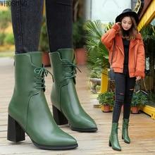 Pointed Toe Women's Boots Green Ankle boot Plush Warm Winter Boots Women Autumn High Heel Leather Boots Women  Martin boots m480 цена в Москве и Питере