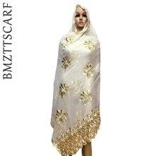 Мусульманский женский шарф с вышивкой с Стразы, приятный бежевый шарф для Для женщин, большой шарф для шали wrpas, Африканский шарф