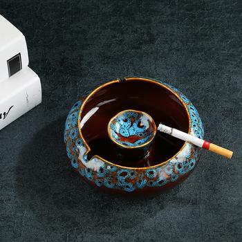 NEWYEARNEW popielniczki samochodowe chiński styl Retro papierosy popielniczki biznes chłopak dekoracja wyposażenie domu prezent tanie i dobre opinie CN (pochodzenie) QQBH20091006 ROUND Bezdymne ceramic