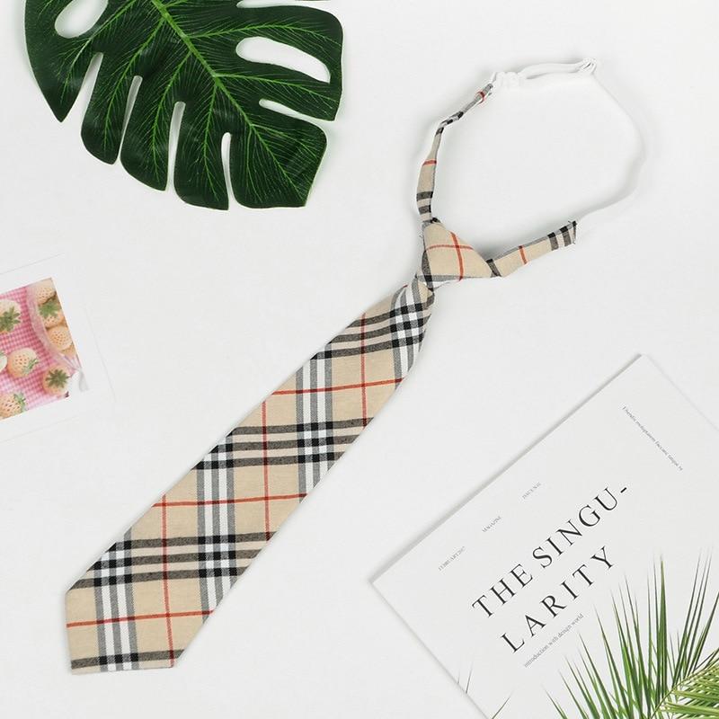 Pre-tied Students Lazy Ties For Men Women Boys Girls Adjustable Slim Men Necktie Checked Red Black Neck Tie