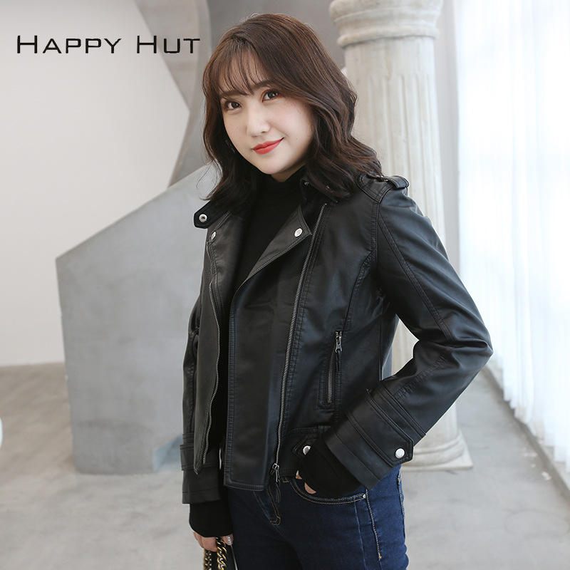 Faux Leather PU Jackets Coats Women Fashion Winter Autumn Motorcycle Jacket Black Faux Leather Coat Outerwear Short Jacket Coat in Leather Jackets from Women 39 s Clothing