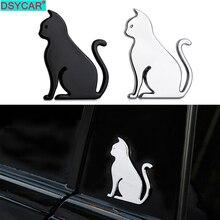 DSYCAR 1Pcs Fashion 3D Metal Car Decoration Metal Cat Adhesive Car Badge Emblem Sticker for Universal Cars Moto Bike Car Styling