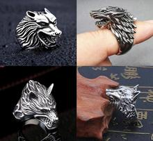 Domineering Personality Wolf Head Ring Unisex Stainless Steel Wolf King Ring Creative Simple Wolf Ring