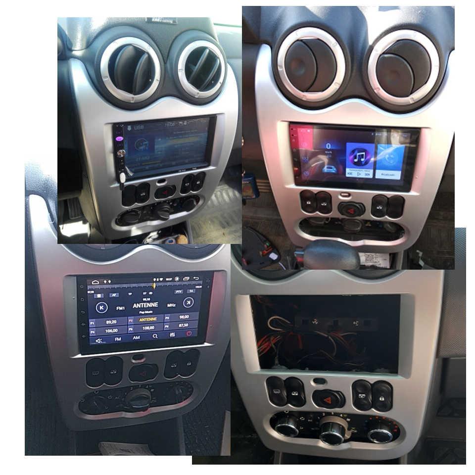 Fit RENAULT Logan SANDERO Dacia Duster çift 2 Din araba radyo fasya çerçeve paneli dağı Dash kurulum Trim kiti