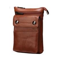 Hook Fanny Pack Men Genuine Leather Waist Bag Hip Bum Cell Phone Cigarette Case Skin Purse Pouch Male Small Belt Shoulder Bags