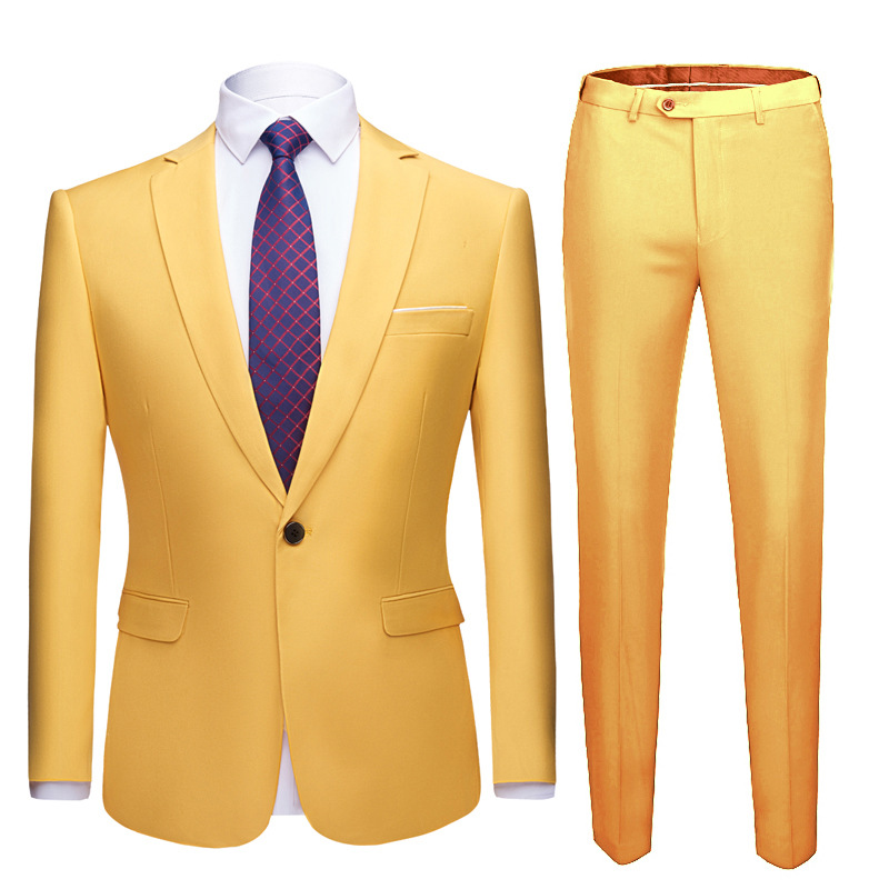 Tuexdo Jacket Wedding Slim Pieces Formal Uniform Suit Pants Fit Single Shenrun Suits Casual Men Office Button 2 Business Groom